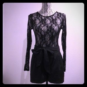 Forever 21 Long Sleeve Lace Romper